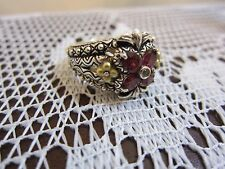 BARBARA BIXBY FLOWER GARNET TOPAZ RING STERLING & 18K GOLD NEW SIZE 5 JEZZABEL