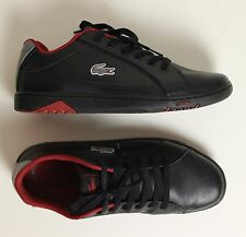 LACOSTE Mens Black Leather DEVIATION II Trainers / Shoes - Size UK 10