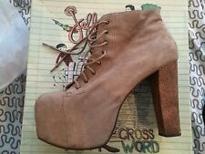 Jeffrey Campbell Lita Boots In Distressed Suede In Taupe