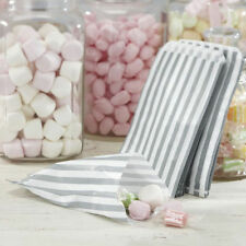 "500 X 5""x7"" GREY CANDY STRIPE PAPER BAGS SWEET FAVOUR SHOP PARTY SWEETS WEDDING"