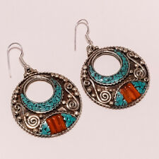 VINTAGE ANTIQUE HANDMADE EARRINGS NATURAL TIBETAN TURQUOISE,CORAL  19 GRM