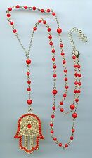 Yellow Gold Plated, Crystal & Red Bead Long Hamsa Kaballah Y Pendant Necklace