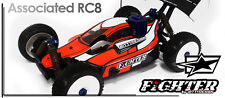 Bittydesign fugazmente Karo carrocería Fighter body 1:8 Buggy Asso rc8 Lexan claro
