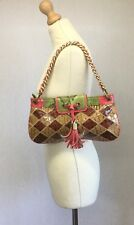 River Island Ladies Small Brown Pink Green Snakeskin Patent Shoulder Bag Clutch