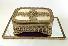 Ormolu Jewelry Casket Dresser Box Mirror Set Filigree Jewelry Box