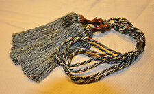 Fancy Curtain Tassel Tiebacks with Wooden Ornament - Blue and Brown
