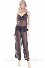 Ladies Luxury Sheer Cami Pyjamas Waites Lingerie 1012 PJ's Size S M L Red Black