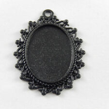 22 pcs Black Color Alloy Oval Lace Cameo Setting Charm Pendant Inner 25*18mm