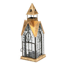 Glass and Metal Architectural Candle Lantern - Copper-Tone Patina Hampton House