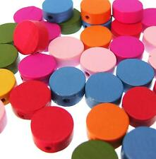 20 WOOD COIN BEADS Flat Round 13mm Bright Mixed Colours Wooden