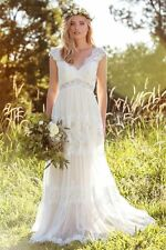 New Long Bohemian Elegant A Line Lace Wedding Bridal Gown Dress Custom Size