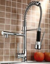Swivel&Pull Down Sprayer Faucet Kitchen Double Water Spout Mixer for Two Sinks