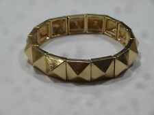 Gold Tone Pyramid Stud Metal Punk Stretch Bracelet