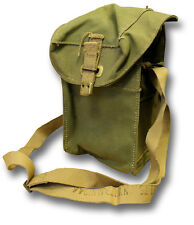 BRITISH ARMY RESPIRATOR HAVERSACK DATED 1940s CANVAS LIGHT GAS MASK BAG [72243]