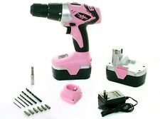 New Pink Power 18V Pink Power Cordless Drill Kit for Women PP182 18 Volt