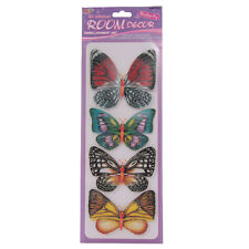 4 GRAND PAILLETTES 3D PAPILLON SANS ACIDE MUR AUTOCOLLANTS EMBELLISSEMENTS PUK A