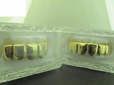 GRILLZ GOLD PLAIN 2 PIECES TOP MOUTH GRILLS  L001