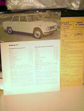 RARE FICHE TECHNIQUE RESEAU ALFA ROMEO 1965 : ALFA GIULIA  1600 TI + FICHE RTA
