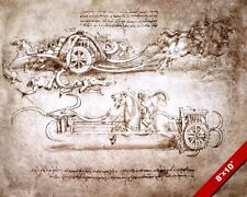 LEONARDO DA VINCI CHARIOT WAR MACHINE SKETCH PAINTING REAL CANVAS ART PRINT