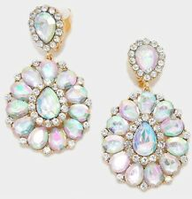 "3.25"" BiG Long Crystal Gold Large AB Clear Rhinestone Earrings Wedding CLIP ON"
