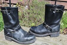 VINTAGE STEELTOE LEATHER ENGINEER MOTORCYCLE BOOTS 10.5 M