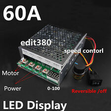60A DC 12v 24v 36v 48v Variable Speed Motor Controller Reversible Control W/ LED