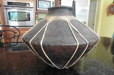 Antique African Pottery Vase Bowl container leather hide wrapped Museum quality