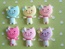 6 x Cute Smiley Kitty Cat Flatback Resin, Embellishment, Crafts,Cabochon *UK*