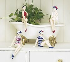 Americana MINI BATHING BEAUTY FIGURINES in Red, White, & Blue Suits - Set of 4
