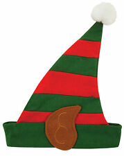 CHILDREN ELF STRPEY HAT WITH EARS FLEECE UNISEX CHRISTMAS FANCY DRESS XMAS