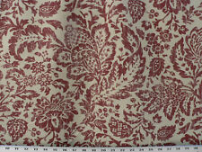 Drapery Upholstery Fabric Cotton Duck Print Flowers & Leaves - Brick