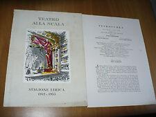 TEATRO ALLA SCALA STAGIONE LIRICA 1952-53 BALLETTI VERA COLOMBO PICASSO CASORATI