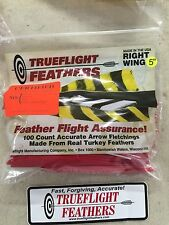 Trueflight 5 inch Feathers Right Wing Parabolic Cut 100 pack Red