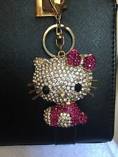 Extra Large Crystal Alloy Kitty Cat 3D Purse Charm Key Chain Key Ring