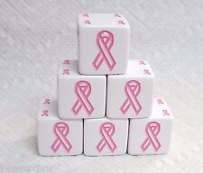 KOPLOW'S *6* 19mm RIBBON BENEFIT DICE -*PINK*- SALES HELP BREAST CANCER RESEARCH