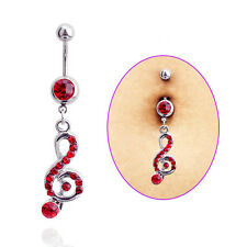 Fashion Steel Music Note Long Dangle Navel Belly Button Ring Bar Body Jewelry