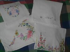 VINTAGE TABLE MATS CENTRES X 4 WHITE CREAM LINEN  EMBROIDERY CRINOLINE LADY