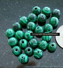 Malachite 6mm round beads 24 beads earrings, charms, jewelry making beads bs095