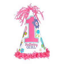 Sweet Birthday Bufferfly Girl's Happy 1st Birthday Party Paper Cone Hat