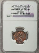 1967 NGC MINT ERROR (Unc Details) *** Double Struck (95%) with Uniface Rev. ***