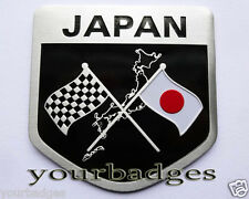 Brushed Aluminium Japan And Chequered Flag Car Badge Japanese