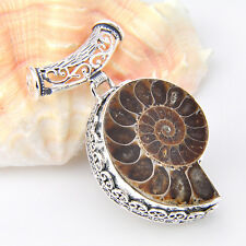 NEW Amazing Handmade Natural Ammonite Fossil Gemstone Vintage Silver Pendant 2""