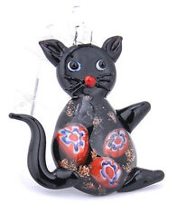 Black Lifelike Elegant cat art lampwork glass pendant beaded necklace LS8