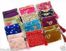 5p Chinese Handmade Satin Silk Purse Wallet Bags Jewelry Coin Accessory