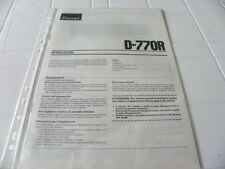 Sansui D-770R Owner's Manual  Operating Instructions Istruzioni New