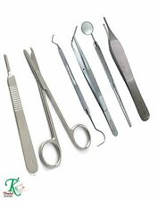 Medical Student's Basic Surgical Suturing Tools Pack Tweezers Scalpel Handle New