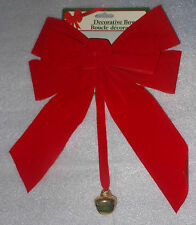 "NWT Red Velvety Decorative Christmas Bow Gold Jingle Bell Decoration 10"" NEW"