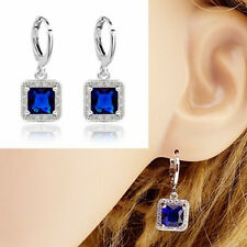 Women Fashion 925 Sterling Silver Blue Sapphire Stud Dangle Earring Jewelry New