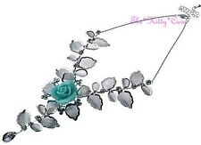 Silver Deco Mesh Lace Rose Flower Scrolled Collar Necklace w/ Swarovski Crystals