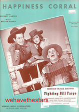 "FIGHTING BILL FARGO Sheet Music ""Happiness Corral"" Johnny Mack Brown"